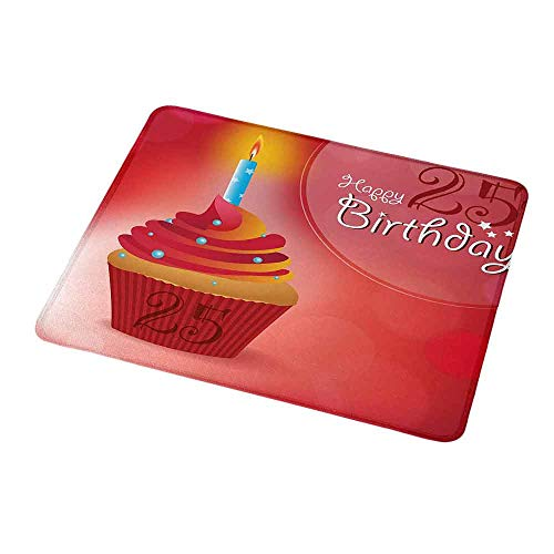 - Customized Gaming Mouse 25th Birthday,Delicate Traditional Blue Dots on a Sweet Cupcake Intimate Celebration,Red Orange Blue,Non-Slip Personalized Rectangle Mouse pad 9.8