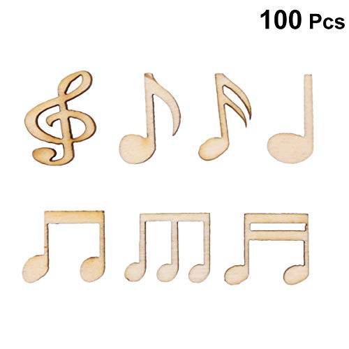 Amosfun 100PCS DIY Doodle Educational Toy Musical Notes Natural Wooden Slice Scrapbooking Embellishments DIY Craft Decor (Burlywood)