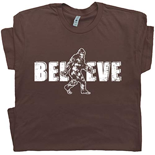 XXL - Bigfoot Believe T Shirt Sasquatch Shirts Yeti Cryptozoology Funny Graphic Tee for Men Women Teen Kids Brown