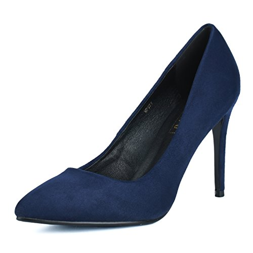 IDIFU Women's IN4 Classic Pointed Toe Stiletto High Heel Dress Pump (Blue Suede, 5.5 B(M) US)
