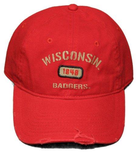 New! University of Wisconsin-Madison Badgers - Adjustable Buckle Back Distressed Cap ()