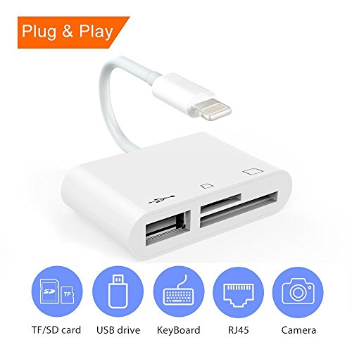 Price comparison product image Card Reader for iPhone / iPad,  2 Slots Flash Memory Card Reader to reader 2 Cards Simultaneously TF,  SD,  Micro SD,  SDXC,  SDHC,  MMC,  RS-MMC,  Micro SDXC,  Lightning to SD / TF Card Reader,  Plug & Play