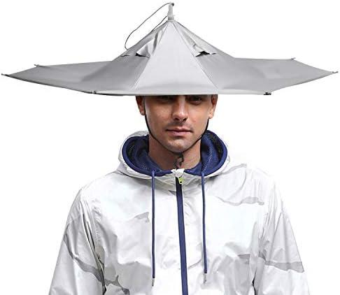 Outdoor Foldable Sun Rain Umbrella Hat Fishing Camping Head Hats Headwear K5H8