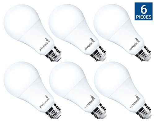 Hyperikon LED Light Bulb A21, 16W (100W Equivalent), CRI92, 1600 Lumens, 2700K (Warm White), Medium Screw Base (E26), ENERGY STAR Certified, UL-Listed, Dimmable (6 Pack) (Screw Medium Mr16)