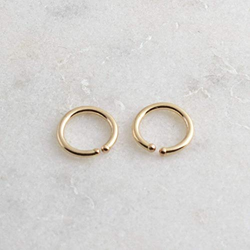 Gold Filled Hoop Earrings, 6 x 0.8mm Gold Hugging Hoop Earrings, Tiny Hoops, Gold Handmade, Everyday Earrings, Minimalist Earrings, Round Hoop Earrings ()