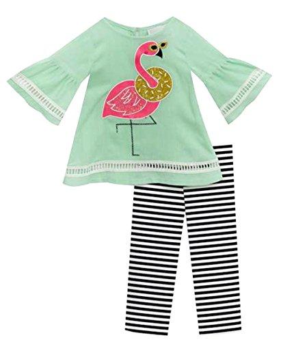 Infant Toddler Girls Mint Flamingo Spring Legging Set (6)