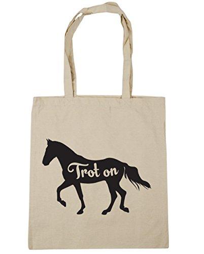 HippoWarehouse Trab Auf Pferd Riding Einkaufstasche Fitnessstudio Strandtasche 42cm x38cm, 10 liter - Natürlich, One size
