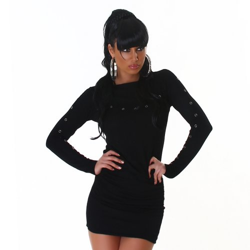 Voyelles - Vestido - Estuche - Manga Larga - para mujer Negro - Negro
