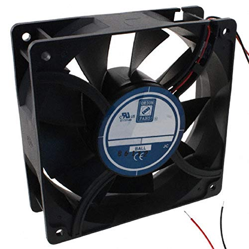ORION OD-Series, 12V 0.87A, 150CFM, 120x120x38mm 9-Blade High Performance DC Axial Cooling Fan, High Speed, High Airflow, Dual Ball Bearing, 11 inch 2-Wire Leads, CE, ROHS, UL, CUL, TUV