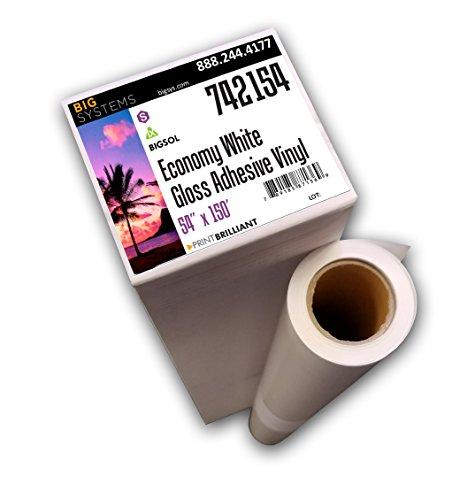 "BigSol Solvent/Latex Adhesive Vinyl Roll, Printable Vinyl Film, Gloss White Adhesive Vinyl (54"" x 150"