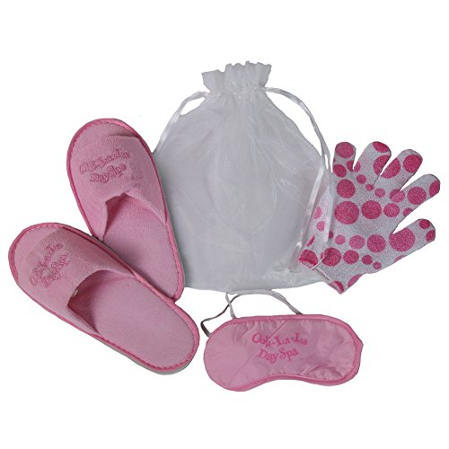 Girls Day Spa Party Favor Kit (1 Pair Slippers, Pink Organza Drawstring Bag, Mitt Glove, Eye Mask) Size S (Spa Favor Bag)