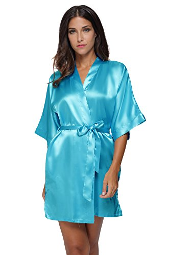 The Bund womens Pure Colour Short Kimono Robes with Oblique V-Neck LightBlue Medium