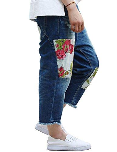 Youlee Mujer Parche Mezclilla Pantalones Capri Pantalones con Bolsillos Azul
