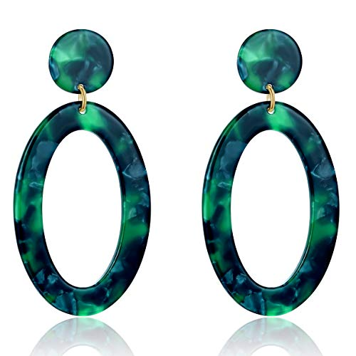Wife Green - UNIWILL Acrylic Earrings Tortoise Shell Resin Earrings Drop Dangle Statement Earrings for Women Fashion Jewelry (Green-02)