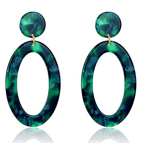 UNIWILL Acrylic Earrings Tortoise Shell Resin Earrings Drop Dangle Statement Earrings for Women Fashion Jewelry (Green-02) ()