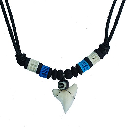 exoticdream Real Shark Tooth Necklace Surfer Hawaiian Beach Boys Girls Men - Color White Bone (Blue III) Bone Tooth