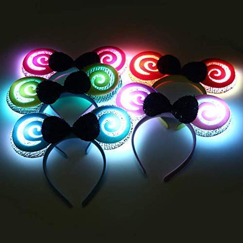 Gwill 5 Pack Lovely LED Lollipop Ears Bow Tie Flashing Light Blinking Headband Women Girls Flashing Hair Accessories Glow Halloween Party Supplies Color Random]()