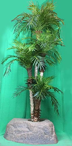 (Artificial UV Rated Outdoor 8' Four Trunk Phoenix Palm Tree with Lg Rock Planter Cover, by Silk Tree Warehouse)