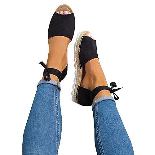 FISACE Womens Summer Espadrille Ankle Strap Flat Sandals Peep Toe Flip-Flop Shoes Black, 8 M US