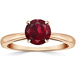 14K Rose Gold Round-Cut Ruby Gemstone Solitaire Engagement Ring 4-Prong (1/4-1 cttw) Size 4-9