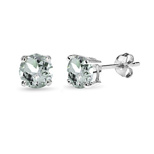 Sterling Silver Aquamarine 6mm Round-Cut Solitaire Stud (Aquamarine Sterling Silver Stud)