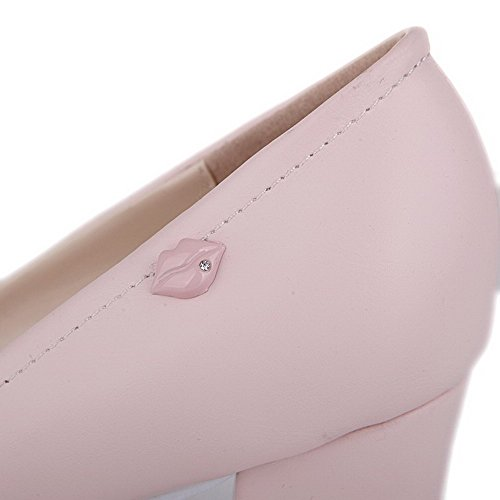 Amoonyfashion Mujer Round Round Toe Pull On Pu Solid High Heels Bombas-zapatos Pink