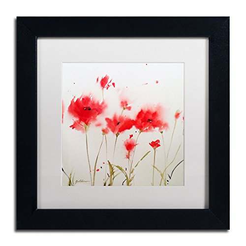 A Poppy Moment Artwork Sheila Gold Ornate Frameen in White Matte and Black Frame, 11 by - Artwork Poppies