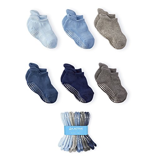 LA Active Baby Toddler Grip Ankle Socks - 6 Pairs - Non Slip/Skid Covered (Boys, 4-7 Years)