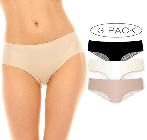 Hipster Laser Underwear Cut (Laundry by Shelli Segal Womens Seamless Hipster Underwear 3 PK Nude/Ivory White/Place Medium)