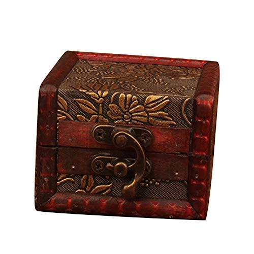 fublousRR5 Vintage Storage Box Container Small Wood Flower/Coin Pattern Case Box Jewelry Bracelet Storage Holder Case Organizer Grape^