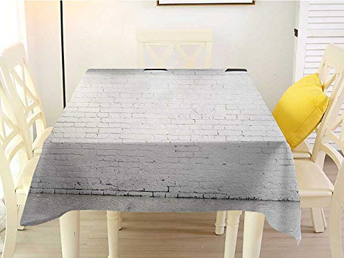 L'sWOW Square Tablecloth Clear Abstract Brickwork Concrete Room with Three Ceiling Lamps Modern Minimalistic Design Black and White White 36 x 36 Inch