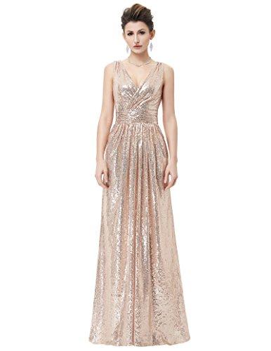 Kate Kasin Women Sequined Bridesmaid Dress Sleeveless Prom Banquet Evening Dresses Long KK199