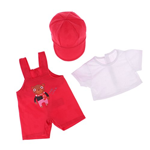 Baoblaze Fashion Doll Clothing Three-piece Suit Short Sleeves Tops Suspender Pants Cap for 18''American Doll Accessories Red