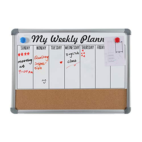 Weekly Planner Magnetic Dry Erase Bulletin Board - 4 THOUGHT 36 x 24 Inches Hanging Weekly Calendar Whiteboard & Cork Board Combo, with Aluminium Frame and 10 Push Pins Included ()