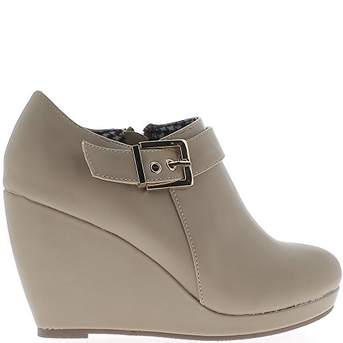 ChaussMoi Wedge Boots Taupe 9cm Leather Heel 0YtFW