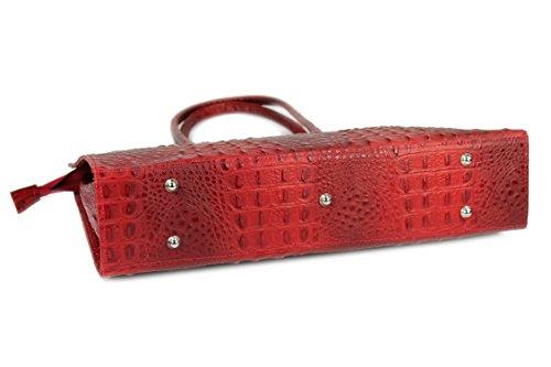 BELLI® Leder Handtasche Businesstasche bordeaux rot Kroko Prägung - 40x30x10 cm (B x H x T)