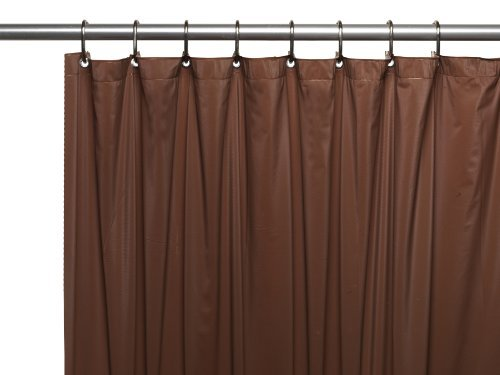 Carnation Home Fashions Hotel Collection 8-Gauge Vinyl Shower Curtain Liner with Metal Grommets, Brown