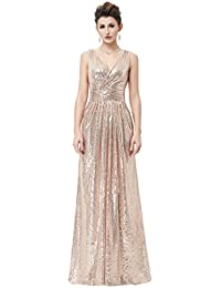 Women Sequin Bridesmaid Dress Sleeveless Maxi Evening Prom Dresses