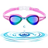 ROTERDON Swim Goggles, Swimming Goggles No Leaking Anti Fog UV Protection Triathlon Goggles for Adult Men Women Youth Kids (Pink)