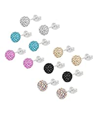 6mm Pave Ball Stud Earrings, Lot of Crystal Earrings Ball - 6 Pairs
