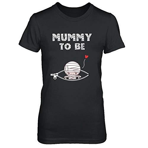 TeesPass Women's Cute Baby Mummy to Be Pregnant Halloween Costume Shirt Ladies' Short Sleeve Tee (Black, 2XL) ()