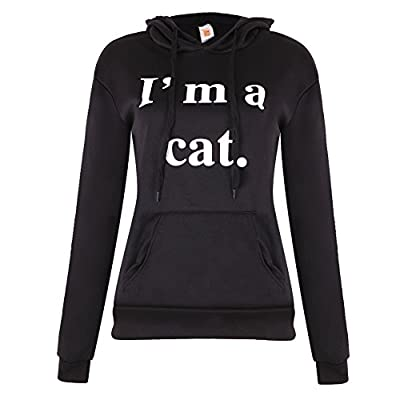 Slaxry Women Cat Ear Pullover Hoodie Hooded Sweatshirt with English Letter Print