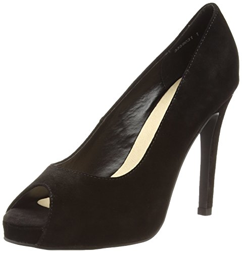 New Look Wide Foot - Tease Suede Peep, Women's Open-Toe Pumps Black (01/Black)