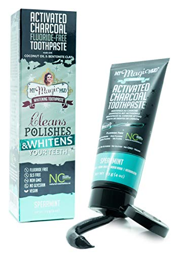 My Magic Mud - Activated Charcoal Toothpaste, Natural, Whitening, Detoxifying, Spearmint, 4 oz.