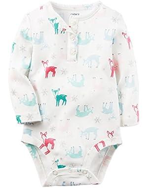Girls' Long Sleeve Deer Print Henley Bodysuit; White
