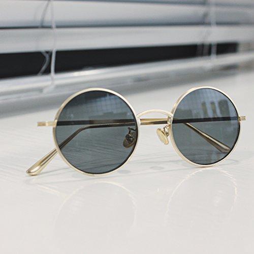 redondas gray sol de de montura green de dorado Gafas Gold de para hombre Gafas metálica frame con sol metal film hip hop VVIIYJ Gafas StxqBwfE