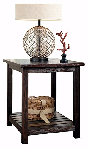 Ashley Furniture Signature Design - Mestler Chairside End Table - Rectangular - Dark (Traditional Dark Walnut Finish Wood)