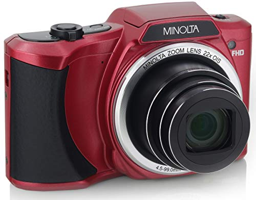 "Minolta 20 Mega Pixels Wi-Fi Digital Camera with 22x Optical Zoom, 1080p HD Video & 3"" LCD, Red (MN22Z-R)"
