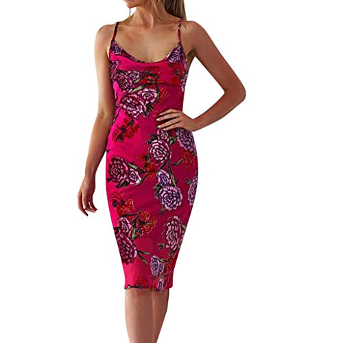 Camisole Sleeveless for Womens Print V Neck Backless Dress Evening Party Floral Dress Beach Cover up Plain Pleated Tank Dress (Hot Pink, S)
