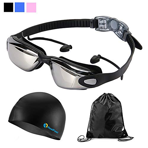 RealFeel Sport Swim Goggles Cap, Swimming Goggles Mirrored Earplugs No Leaking Anti Fog UV Protection Swim Goggles + Case + Silicone Swim Cap + Drawstring Bag Set for Adult Men Women Youth Child -